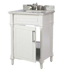 Virtu Usa Khaleesi 24 In Vanity In Antique White With Marble Vanity Top In Italian Carrara