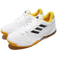 bbe104a74c9cba adidas Barricade Court White Yellow Black Men Tennis Shoes Sneakers BY1647