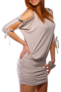 Sexy Open Sleeve Stretch Mini Dress Tunic Top Shirt Short Dress – Juicy Peach Fashion