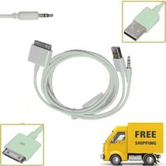 USB 3.5mm Aux Audio Data Transfer Charger Dock Cable for iPod iPhone 3GS 4 4G 4