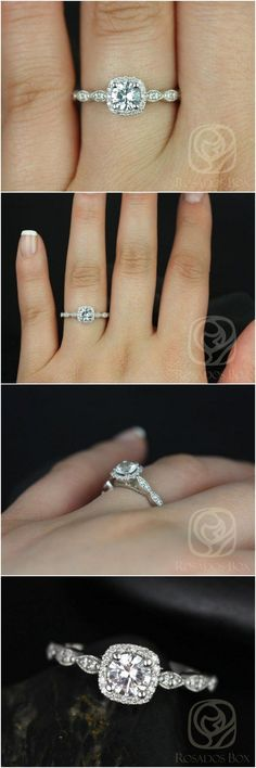 Christie 5mm 14kt Round White Sapphire and Diamonds Cushion Halo WITH Milgrain Engagement Rin / http://www.deerpearlflowers.com/inexpensive-engagement-rings-under-1000/