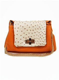 Orange Ostrich and Croc Bag - Ostrich Bags- Cute Shoulder Bags- $49