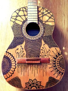 Handdrawn Guitar Zentangle Doodle