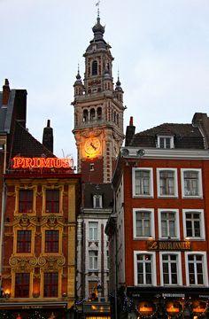 Sur la Grand Place, Lille, France Roubaix, Calais, Study Abroad, City, Building, Places, Travel, France, Illuminated Signs