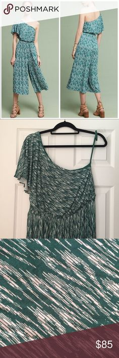 Anthropologie Maeve Jamie Wide Leg Jumpsuit Medium Anthropologie Maeve Jamie Wide Leg Jumpsuit. Side pockets, gorgeous kelly green and white. One shoulder, super comfortable and flowy. Rayon lining. Medium. NWOT Anthropologie Pants Jumpsuits & Rompers