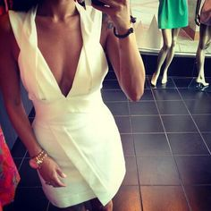 Short white dress #great to wear as a wedding guest