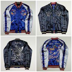 Vintage Japanese Tailor Toyo Sexy Black Blue Snake Dragon Ryu Eagle Hawk Wave Japan Map Sukajan Souvenir Jacket - Japan…