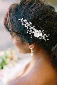Wedding Hair Vine with Pearls Rhinestones Bridal by OWDJewelry