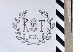 Wreath Laurel Initials  - Save the Date - Personalized Wooden Stamp - Wedding by BARNSTATIONERY on Etsy https://www.etsy.com/listing/182364738/wreath-laurel-initials-save-the-date