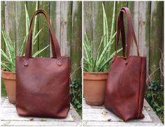 leather EVERYDAY TOTE  auburn brown by HattonHenry www.hattonhenry.com