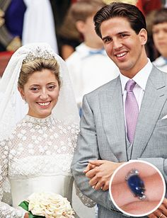 When Crown Prince Pavlos of Greece proposed to Marie-Chantal Miller (now Crown Princess of Greece), reportedly on a ski lift in Switzerland, it was with this ring featuring a family heirloom sapphire and a heart-cut diamond that was his personal touch.