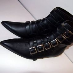 Goth Pikes Winklepickers x6 buckle Classic boots Goth Gothic Batcave WGT Siouxsie 80s