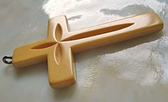 Unique Carved Butterscotch Bakelite Large Cross by GemParlor, $45.00