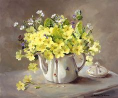 Primroses in a Teapot - Limited Edition Print | Mill House Fine Art – Publishers of Anne Cotterill Flower Art