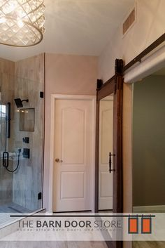 Our beautiful mirrored custom barn door will come in very handy in this Scottsdale master bathroom & When a customer asks us to match a #barndoor to their floor. Well ... pezcame.com
