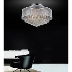 Master Bedroom or Kitchen Dining Room - Crystal World Inc. - Round 20 Inch Flushmount with White Shade - 5062C20C (Clear + W) - Home Depot Canada
