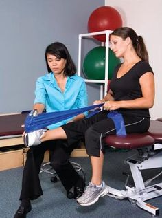 We use Therabands here at Monmouth Pain and Rehabilitation
