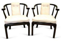 Wood & Silk Asian Chairs, Pair