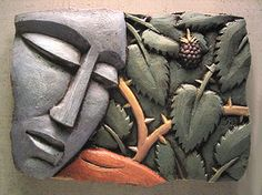 i chose this picture because this piece said it was made out of clay. cermaics. not only its a low relief sculpture but it shows contrast to the picture