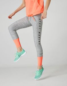 Sport leggings with contrasting cuff - Sport Start Moving - Bershka Lithuania