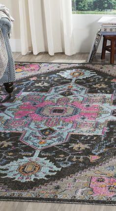 Antique oriental style grey and fuchsia rug
