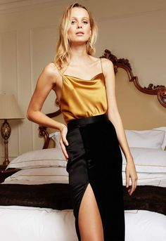 Black Dress Outfits, White Outfits For Women, Classy Outfits, Chic Outfits, Trendy Outfits, Silk Cami Top, Cami Tops, Stylish Dresses, Types Of Fashion Styles