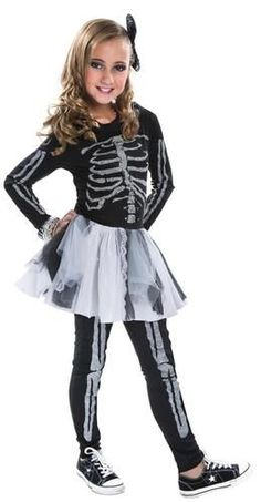This costume includes a tutu style dress with skeleton print, leggings, and…