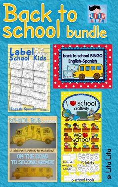 Back to School bundle! some craftivities, vocabulary worksheets and  a fun bingo game. English-Spanish