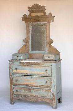 Found Vintage Rentals: Eastlake Blue Dresser