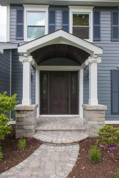 Inviting Entry & Decorative Finishes Enhance this Exterior Renovation - Opal Enterprises Exterior Home Renovation Entry Doors, Entryway, Porch Extension, Wooden Ceilings, Porch Ideas, House Front, Home Renovation, New Homes, Exterior