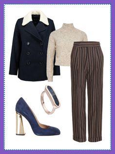 What to wear to work: Business-Look mit Cabanjacke, Pullover mit Stehkragen und Wildleder-Pumps – dein Büro-Outfit für heute.