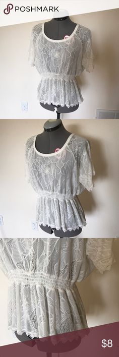 Lace top with detailed edge Cute lace top with cinch-y waist and a cute scalloped detail edge. Romantic and fresh--perfect for spring. Off-white color. Size small. Logix Tops