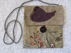 Fabric purse with applique by SusanDeanne on Etsy, $15.00