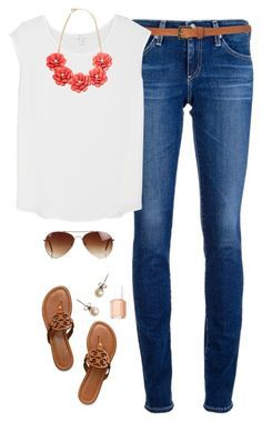 """""""Spring Flower"""" by northern-prep ❤ liked on Polyvore featuring AG Adriano Goldschmied, Topshop, Joie, Tory Burch, J.Crew, Rut&Circle and Essie"""