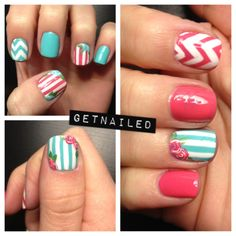 Mismatched mani with blue stripes, flowers, and pink chevron stripes.