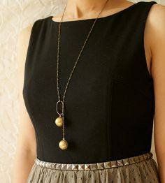 Brass Sphere Lariat Necklace | Jewelry Necklaces | Sora Designs | Scoutmob Shoppe | Product Detail