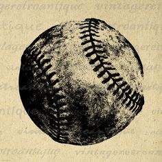 Baseball Printable Graphic Download Sports Digital Image Vintage Clip Art. Vintage digital graphic from antique artwork. This printable high resolution digital image can be used for printing, transfers, tea towels, t-shirts, and many other uses. Great for etsy products. This digital image is high quality at 8½ x 11 inches large. Transparent background version included with every graphic.