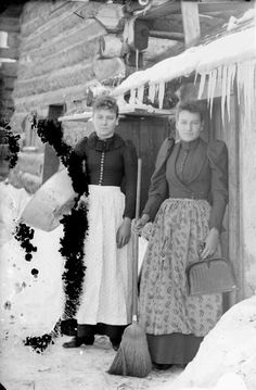 Two Women Outside a Log Cabin | Photograph | Wisconsin Historical Society