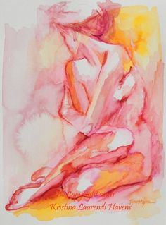 Citrus Colored Watercolor Figure Drawing  Embrace  by Krystyna81, $18.00