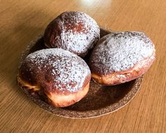Greasy Thursday. Doughnuts on wheat bran plate.