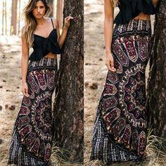 New Womens Boho Tribal Floral Skirt Maxi Summer Beach Long Casual Skirt Dresses #Unbranded #ALine