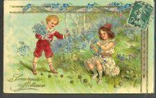 JN183 ENFANTS MYOSOTIS Gaufrée EDWARDIAN CHILDREN FORGET ME NOT  Embossed PFB
