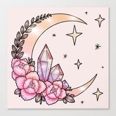 Crystal Drawing, Crystal Tattoo, Arte Obscura, Tattoo Stencils, Moon Art, Future Tattoos, Canvas Prints, Art Prints, Cute Drawings