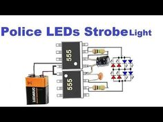 This Police Style Strobe Light Circuit utilizing 555 clock ICs shows the natural lights utilized on squad cars. To accomplish this Police St. Electronics Projects, Simple Electronics, Electronic Circuit Projects, Electronic Engineering, Electronics Gadgets, Led Projects, Electrical Projects, Strobing, Strobo Led