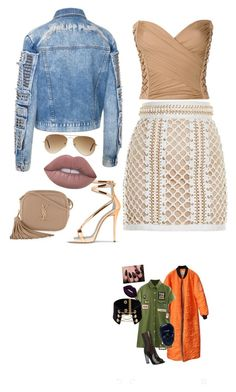 """Touch of fab"" by yasmineings on Polyvore featuring Balmain, Yves Saint Laurent, Lime Crime and Ray-Ban"