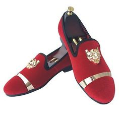 422a7f99a41 Details about Handmade Mens Velvet Loafers Slippers with Gold Buckle  Wedding Dress Shoes New