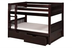 Camaflexi Low Bunk Bed with Drawers - Mission Headboard - Cappuccino Finish - C2012_DR When your family is growing and your space is not, Camaflexi's ultra-durable Low Bunk Bed collection offers the p