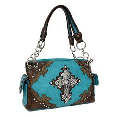 """GNO Handbag Western Turquoise Cross   Only $45  Details:  Size: 14"""" W x 8"""" H x 5.5"""" Deep  Color: Bag: Turquoise, brown   Crystals: Clear  Style: Western cross handbag made of leather like material. The cross and trimming around the bag are decorated with crystal accents. Inside of the bag is made..."""