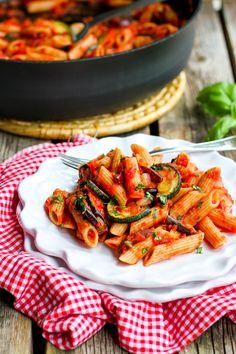 Roasted Zucchini and Eggplant Puttanesca Pasta