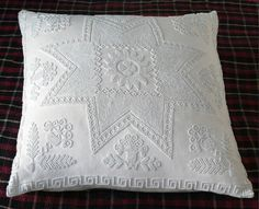 aboydbazaar — AC20 WHITE ON WHITE KNOTTED BEADED CUSHION